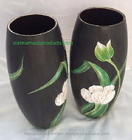Set of 2 Lacquer flower vases- high quality lacquerware in ceramic- 100%handmade D12/9cm x H26.5cm