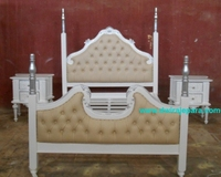 Victorian Wooden Mahogany Bedroom Set White Silver Color