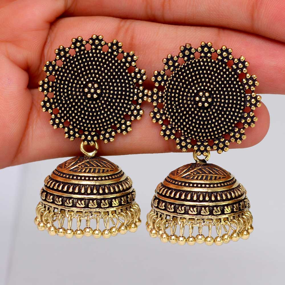 Jaipur Mart Wholesale Oxidised Gold & Silver Plated Jewelry Indian Traditional Design Jhumka Earrings for Fashion Women & Girls
