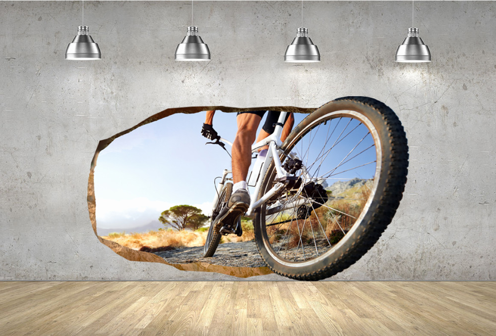 Startonight DualView 3D Mural Wall Art Photo Decor Bike Wheel 120 x 220 cm Sport Collection Wall Art
