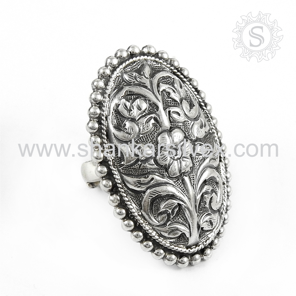 Carved Flower Design Handmade Silver Ring Wholesale Jewelry 925 Sterling Silver Ring Online Silver Jewelry