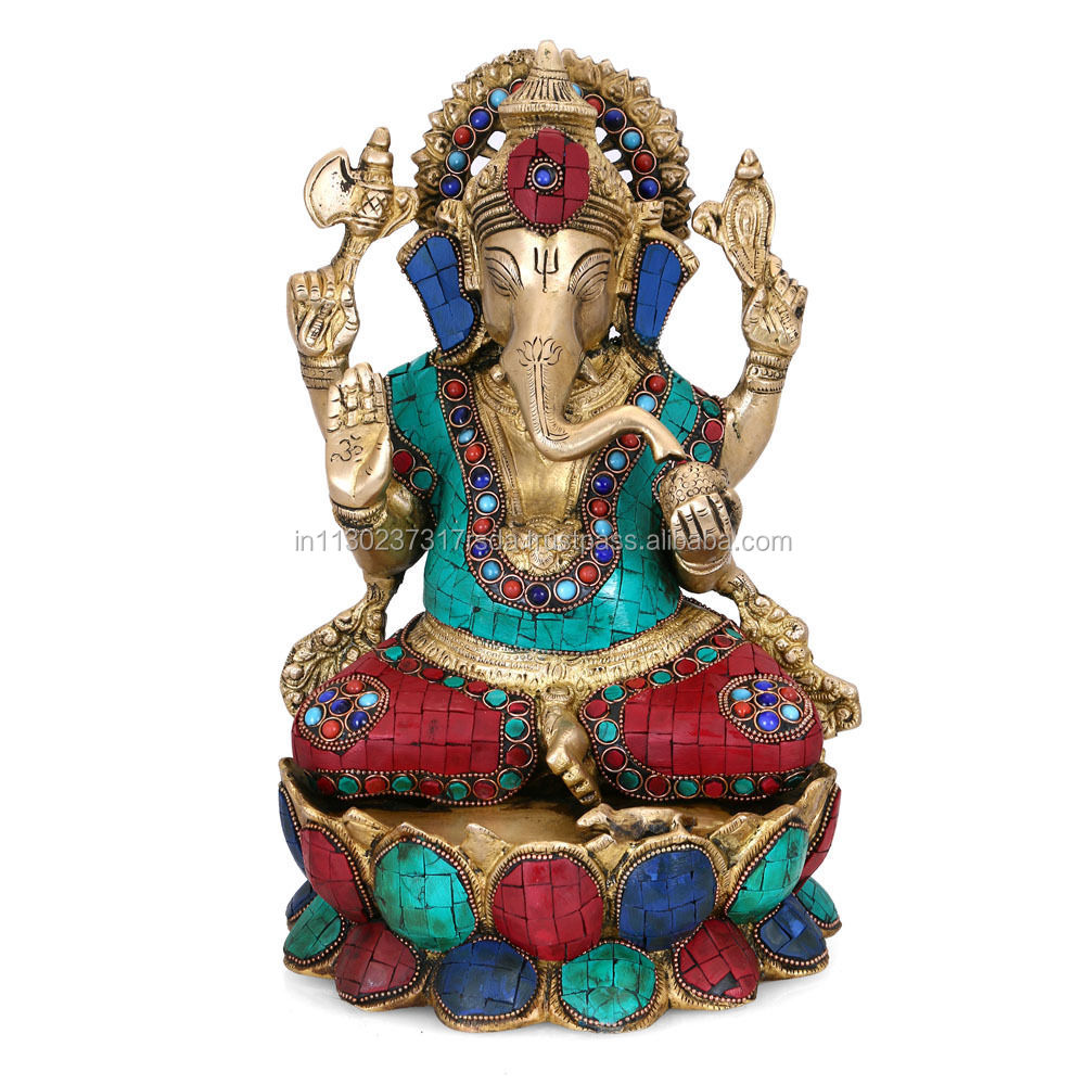 "12"" Large Brass Hindu God Statue Sitting On Lotus Ganesha Idol Elephant Success Ganesh Showpiece Idol"