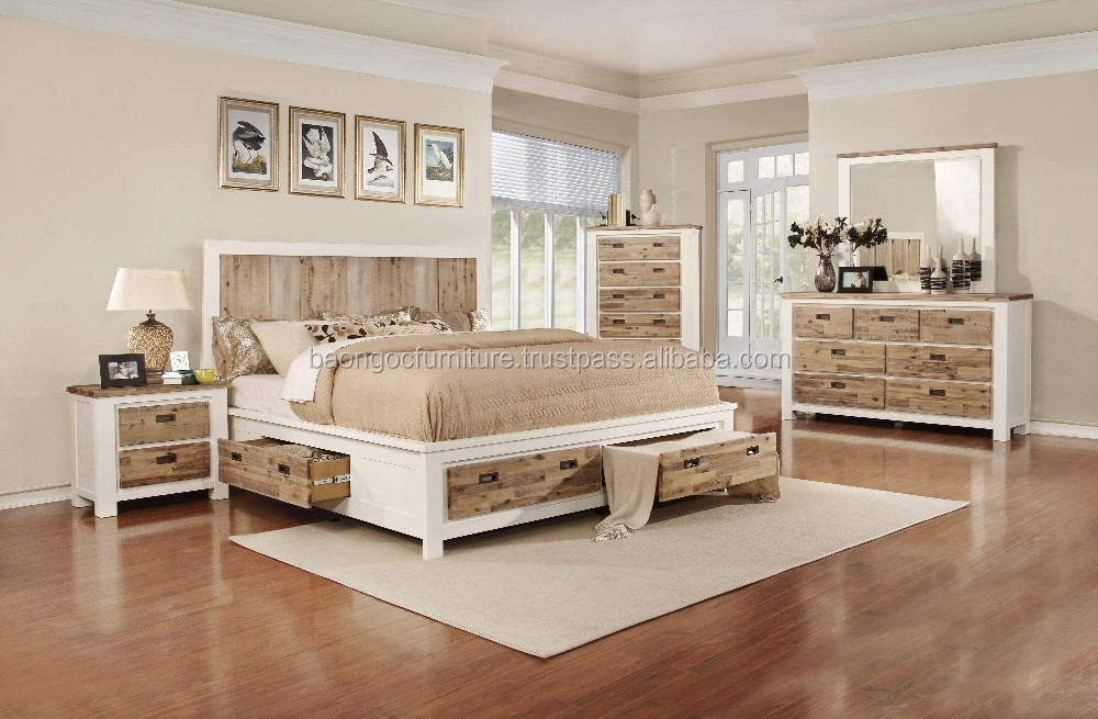 Solid wood Bedroom Furniture with scratched, Wooden furniture vietnam bedroom 11