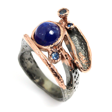 Handmade blue sapphire 925 sterling silver ring