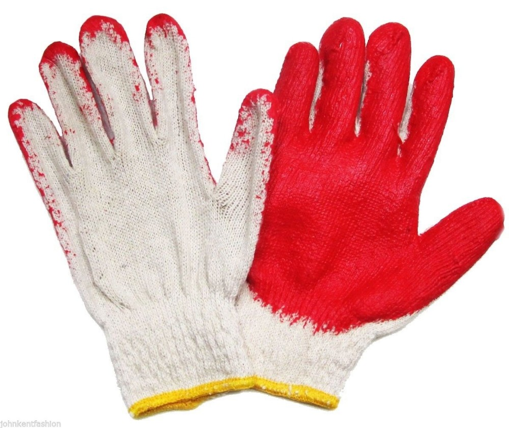 Brand MHR cheap white green latex gloves cotton glove