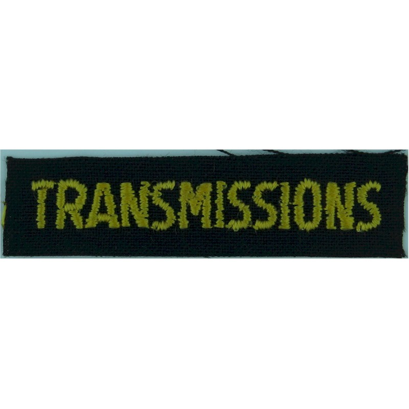 Transmissions (French Canadian Army Signals) Yellow On Black Embroidered Non-British Army shoulder title