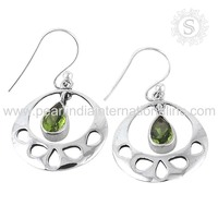 Beautiful Peridot Natural Gemstone Earring 925 Sterling Silver Jewelry Manufacturer Wholesaler Silver Jewellery