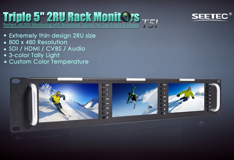 SEETEC rack mount hd broadcast monitor with triple 5 inch SD-SDI lcd tft displays