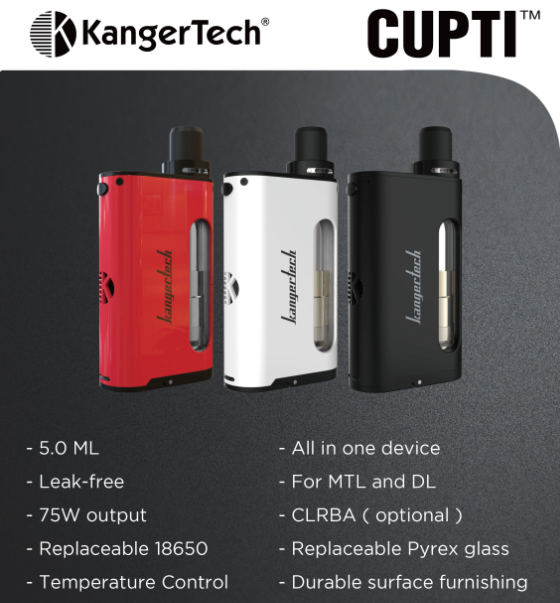 Kangertech All in one device Kanger CUPTI 75W Temperature Cotrol,Fit with CLOCC coil