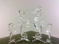 Crystal Family Seahorse Hand Blown Clear Glass Art Figurines Home Decor / Ocean Sea Collection