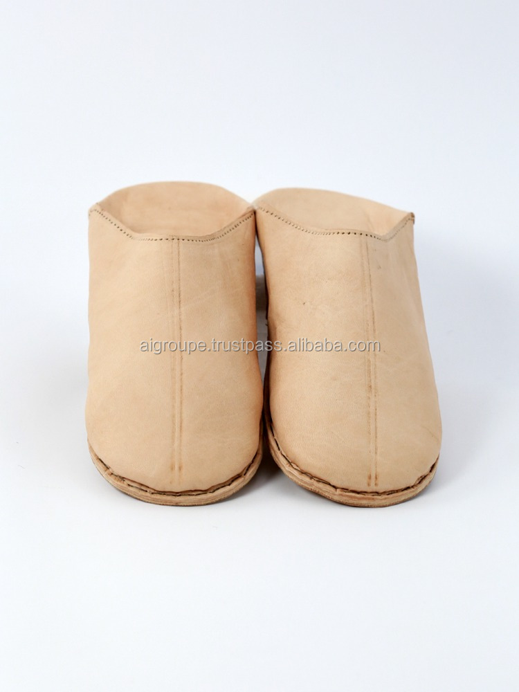Simple Moroccan Handmade Leather Slipper Babouche For Men in natural leather color