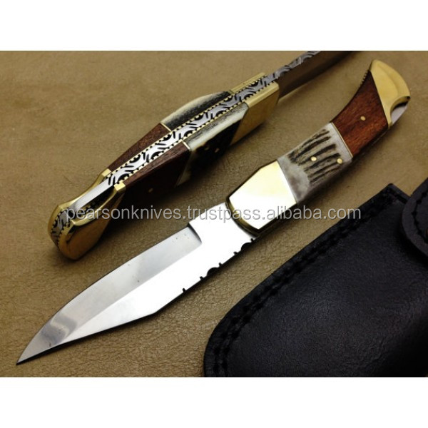 Back Lock Professional Folding Knife Custom Handmade 440c Steel Hunting Knife Best Pocket Knife With Stag & Rose Wood Handle Bac