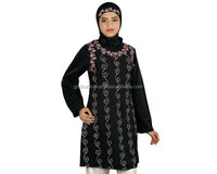 Formal Wear Abaya /Home Use Abaya/ Modest Embroidered Black Kashibo Tunic/Top Party & Occasion, Fashionable Muslim Kurti Abaya