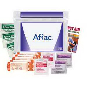 "USA Made Budget First Aid Kit - measures 6"" x 4.5"", has a zip closure and comes with your logo"