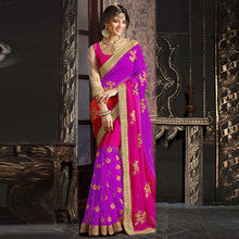 Purple Colored Georgette Embroidered Saree With Blouse Pice-.