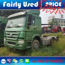 Good quality left hand drive 6x4 4x2 diesel manual, used Howo 375 tractor truck head