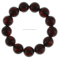 AMBERLORI - BALTIC AMBER 16 mm pressed round balls bracelet Natural Modified amber bracelet supply A307