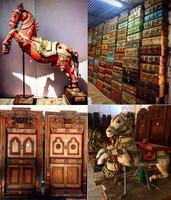 Wooden Antique Carving Door Trunk Boxes Craft