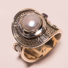 two tone silver designer fashion ring jewelry in pearl, wholesale solid 925 sterling silver jewellery suppliers