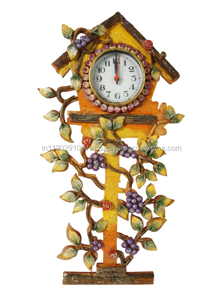 royal antique Indian multicolour grapes leaves wooden crafted handmade designer decorative wall clock handpainted