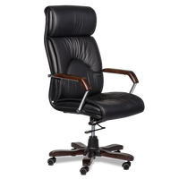 High back quality manager ergonomic computer top leather swivel desk office chair with wooden base Carmen 6070 in black color
