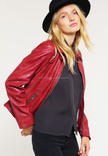 women dressing casual PU Fabric Red long sleeved leather jackets for Ladies