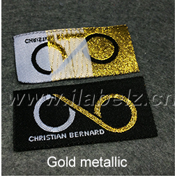 custom garment gold metallic woven fabric clothing labels