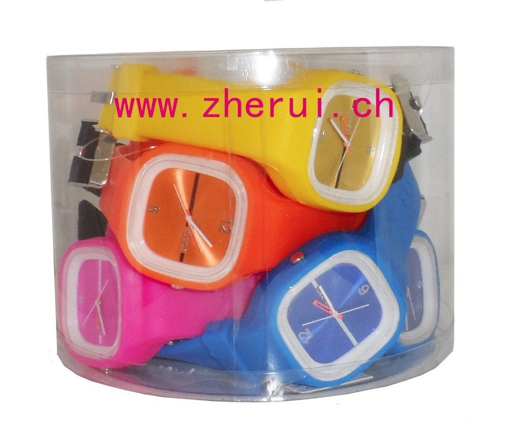 transparent shell jelly silicone watch with mixed colours