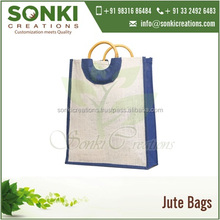 Certified Brand Dual Color Tone Jute Shopping Bag with Round Cane Handles