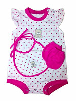 Infant Baby Girl Clothes - Girls 3pc Romper Set (Romper w/Dots and Bear, Mittens and Bib)