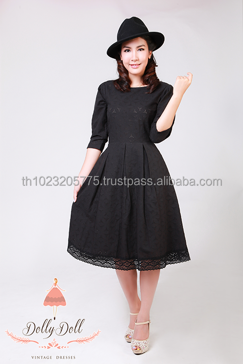 Dollydoll elegant vintage cotton black lace dress made in Thailand