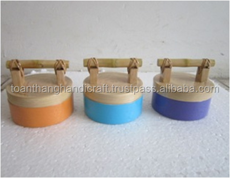 Small colourful bamboo flour rice box with lid