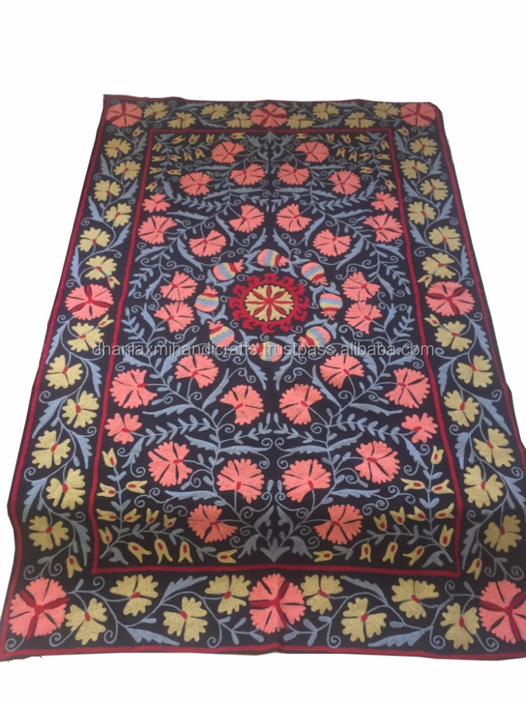 Pure Cotton Suzani Embroidery Bed cover suzani Bedspread Wall hanging beautiful Bedsheet