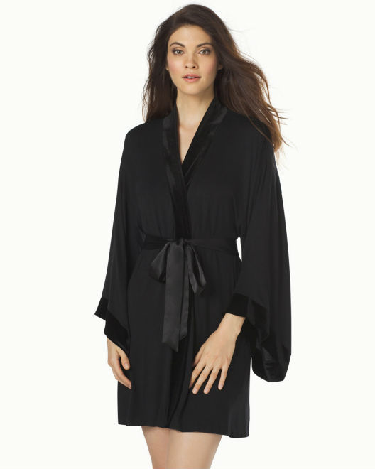 Short Velvet Robe Black Short