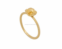 18K Gold Plated Flower Shape Plain 925 Sterling Silver Ring