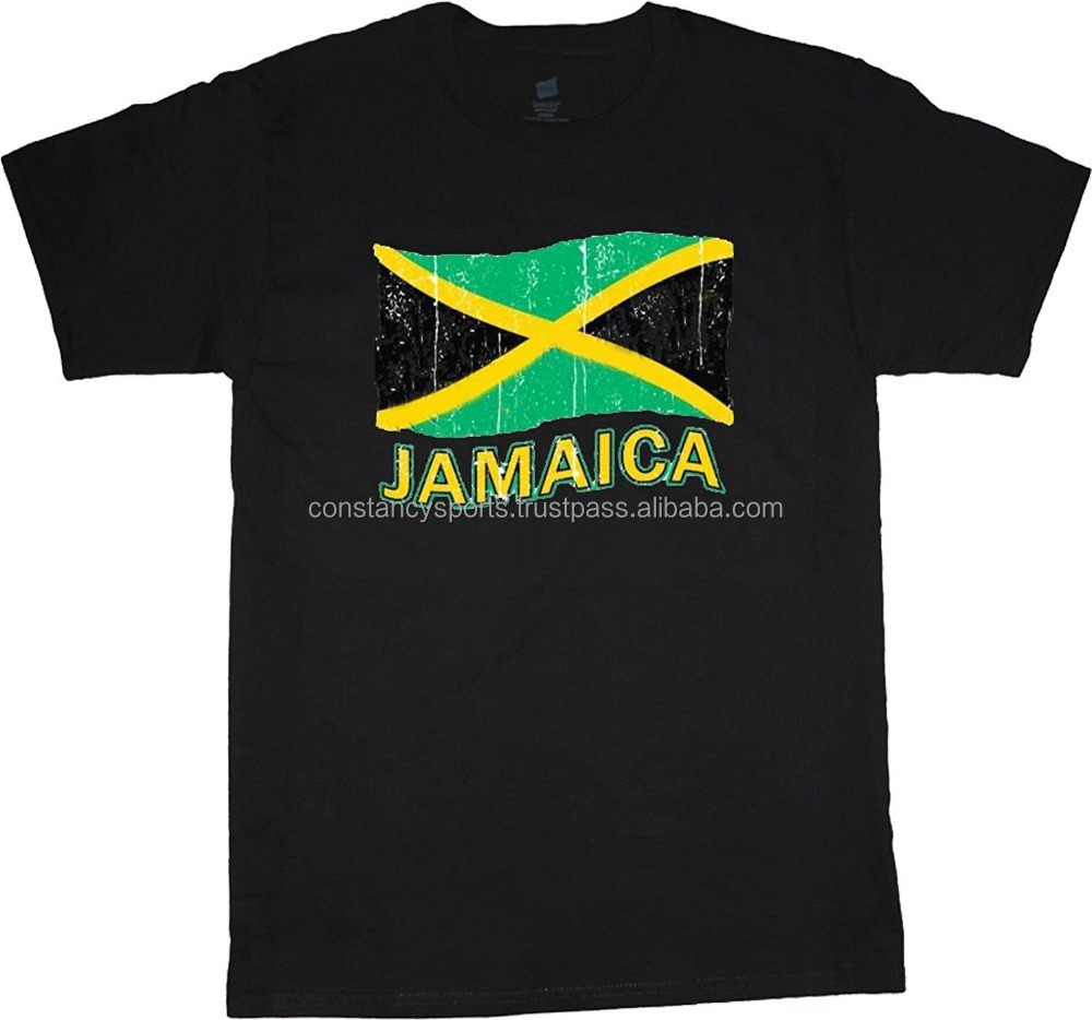Customized Jamaica t-shirt Jamaican flag men's black Jamaica tee shirt