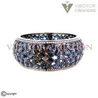 Sapphire gemstone pave diamond 925 sterling silver bracelet 14k gold bangle jewelry