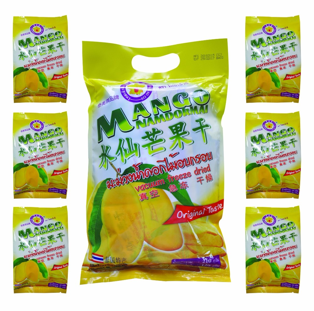 Freeze Dried Mango Nam Duk Mai snack 210 gram pack from Thailand [ Certified HACCP , ISO 22000 , GMP , HALAL & KOSHER ]