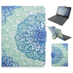 Mini Keyboard Leather Smart Case with USB Cable for Galaxy Tab Pro T320, Flower Fashion Cover for Galaxy TAB Pro