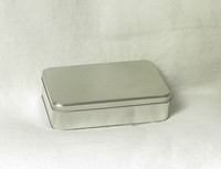 Rectanular Lunch Tin with flat hinged lid