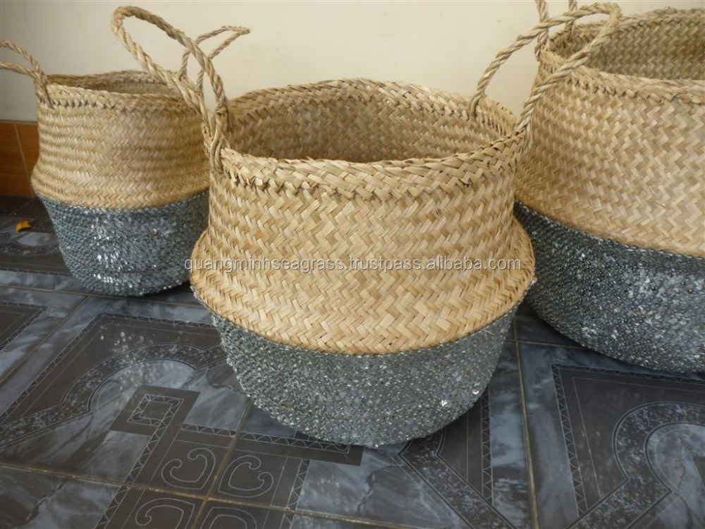 Top New Product Seagrass Belly Basket With Sequin Good Price ...