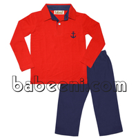Anchor applique polo shirt and pants for baby boys