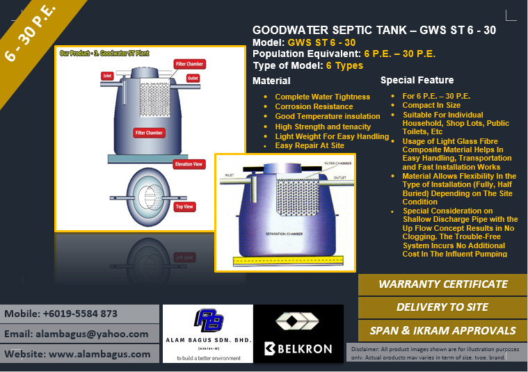 GOODWATER ST SEPTIC TANK MODEL: GWS ST 6 - 30 Anaerobic Upflow Filteration (6 - 30 P.E.)