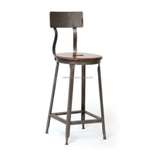 Vintage Industrial rustic metal stool with wood seat (seat with wooden back)