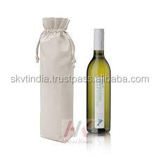 cotton canvas made custom design printed wine bottle bag