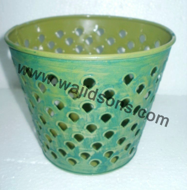 handmade enamel planter for sale | weddings used planter | party supplies planter | yellow finish planter vertical wall planter