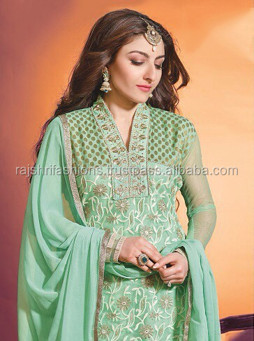Rich Olive Green color with zari embroidery work neck and bottom Designer Semi Stitch Salwar Kameez