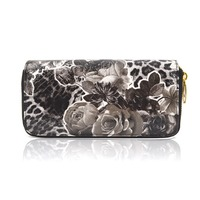 Women High Quality Flower and Leopard Print Double Zip Long Wallet, Ladies office purses