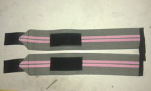 USA Weight lifting wrist wraps Gray with Pink stripes