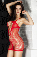Full Red Woman Sleepwear Sexy Lingerie Pajamas Fishnet See Through Chemise Font Women Clothes Sex Lingerie